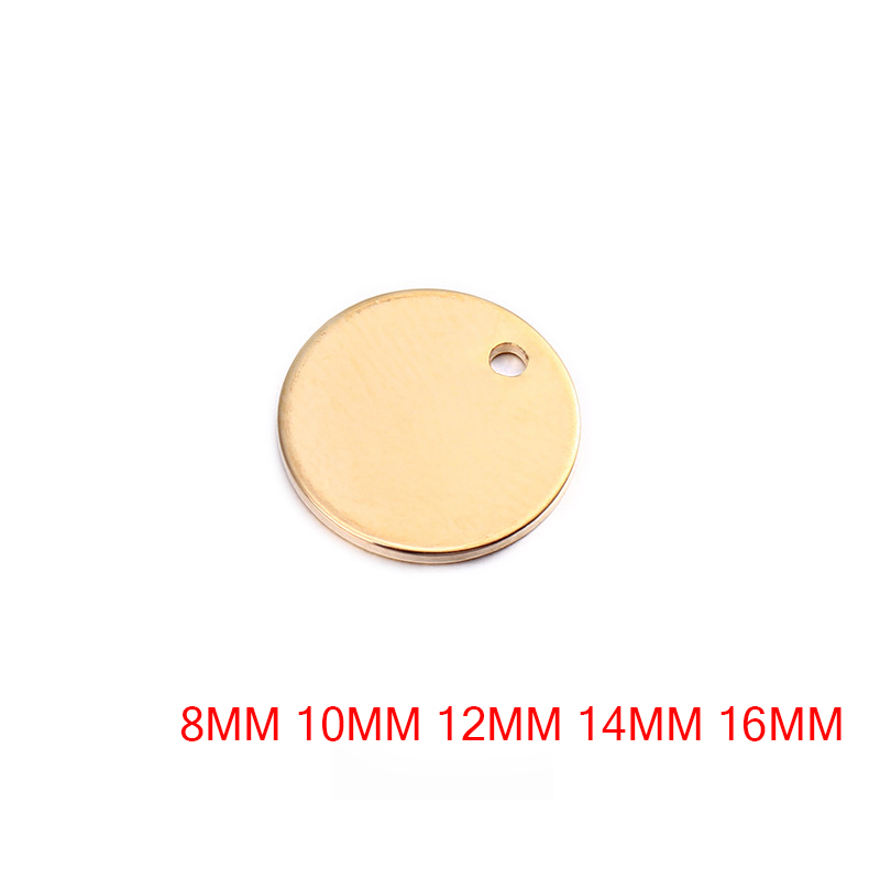 20PCS 8MM 10MM 12MM 14MM 16MM 24K Gold Color Brass Round Disk End Charms Diy Jewelry Findings Earrings Accessories Wholesale