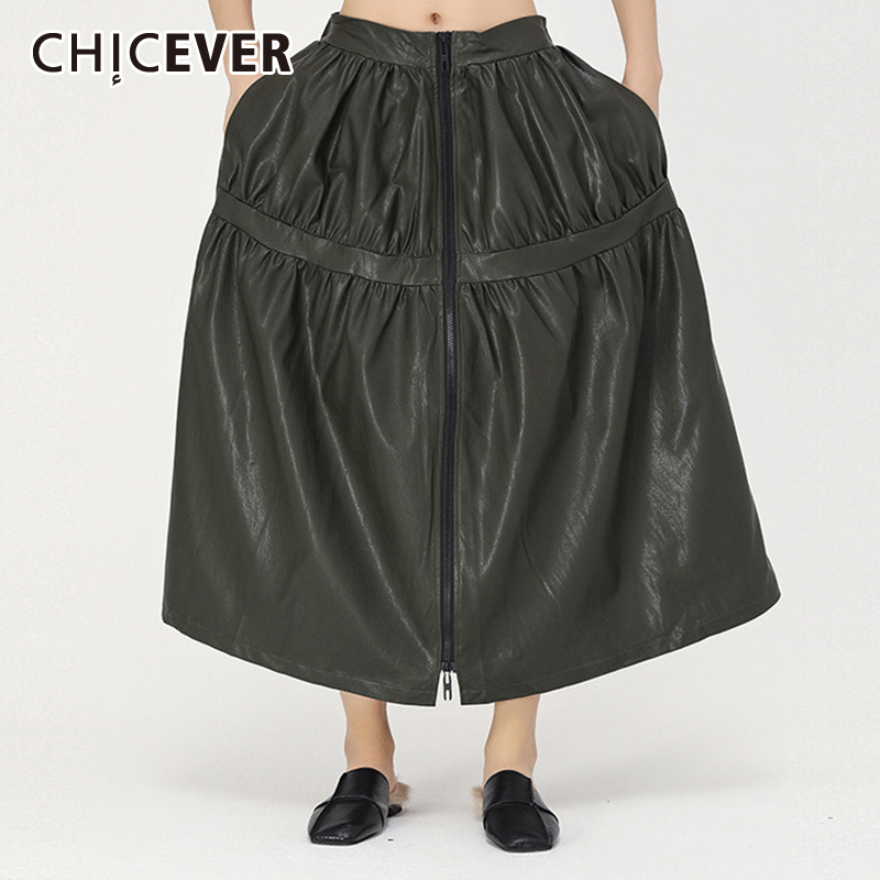 CHICEVER Korean PU Leather Ruched Skirt Women Midi Waist Pocket Oversize Asymmetric Maxi Skirts Female Spring Clothes 2020 New
