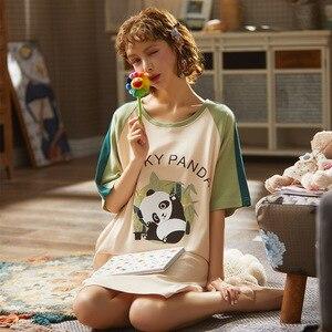 Image 4 - 2020 Summer Night Dress Women Plus Size Nightgown Cartoon Print Sleepshirts Short sleeves Nightie Nightdress Cotton Sleepwear