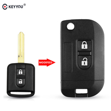 KEYYOU 2 Buttons Flip Folding Remote Key Shell Car Case Fob Cover for Nissan Qashqai primera Micra Navara Almera Note Sunny