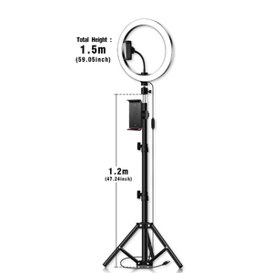 Image 5 - 26cm/10inch inch LED Ring Light 10 Levels 3200 5600K +Tripods Phone Tablet Holders for Live Makeup YouTube Video Lighting