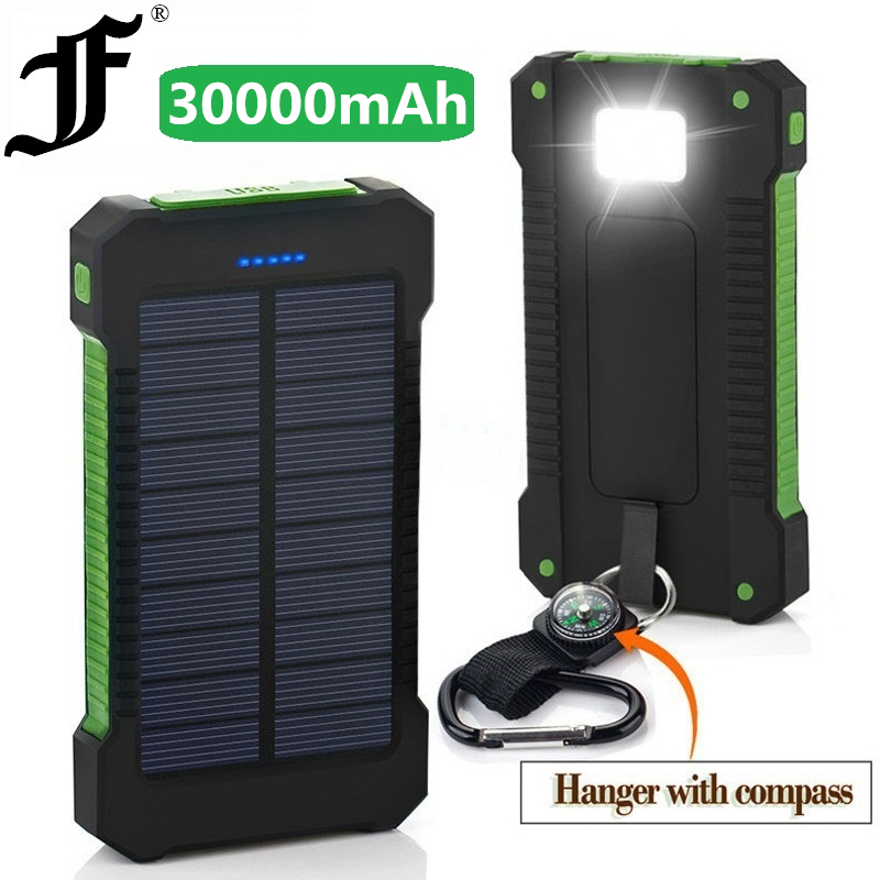 <font><b>Solar</b></font> <font><b>Power</b></font> <font><b>Bank</b></font> <font><b>Waterproof</b></font> <font><b>30000mAh</b></font> Charger 2 USB Ports External Charger Powerbank for Xiaomi MI iPhone 8 Smartphone Huawei image