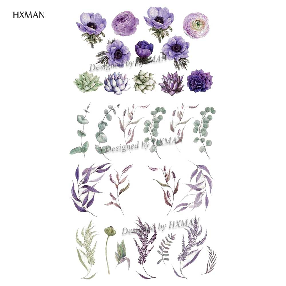 HXMAN Flower Temporary Tattoos Sticker Waterproof Fashion Women Arm Face Fake Body Art 9.8X6cm Kids Adult Hand Tatoo P-064