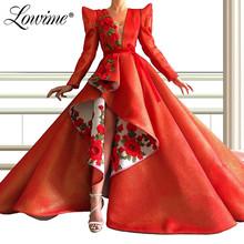 2020 haft suknie wieczorowe formalna sukienka dubajska Arabia saudyjska pełna rękawy Prom sukienki na przyjęcie specjalna okazja odzież damska sukienka tanie tanio Lowime V-neck Pociąg sweep Długość podłogi Prom dresses REGULAR Satyna Aplikacje Candy Color Naturalne V-SA05261514