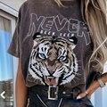 Boho темно-серого цвета в виде головы тигра, принтовые тройники, женские 100% хлопковая футболка с короткими рукавами, футболка с круглым вырезо...