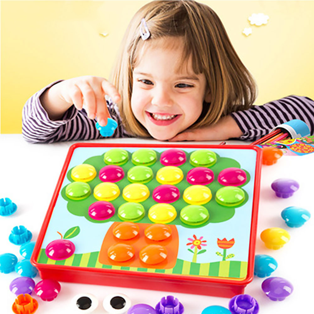 Baby Educational Toys Creative Mosaic Mushroom Nail Kit Buttons Art Assembling Kids 3D Puzzles Toys Gift For Children Game Toy