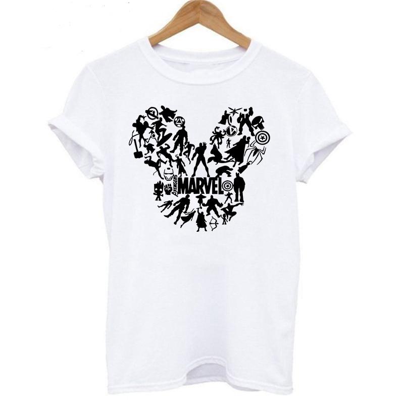 LUSLOS Kawaii T Shirt Women Minie Tshirt Short Sleeve Casual White Tee Tops Marvel T-shirt Superhero Tshirts Womens Clothing