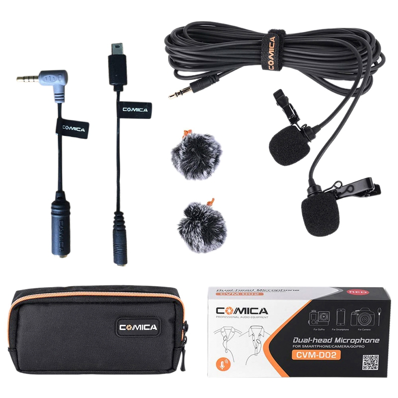 Comica CVM-D02B Dual-Head Lavalier Lapel Microphone For Canon Nikon Sony A7 A6300 Camera / For Iphone 6 6Plus Smartphone / For G
