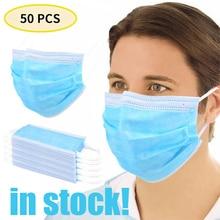 50Pcs Anti-Dust Dustproof Disposable Masks Earloop Face Mouth Masks Facial Protective Cover Masks 3 Layers Mascherine Mascarilla