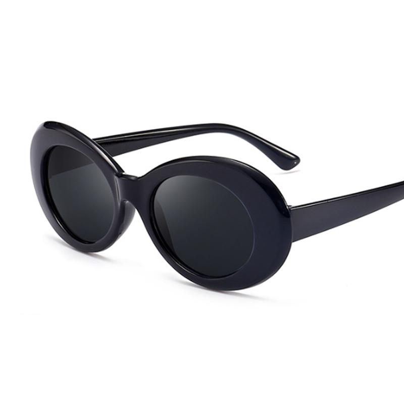 Vintage Oval Round Sunglasses Women Brand Designer Sunglasses Female Male Black White Mirror Kurt Cobain Glasses Oculos De Sol