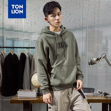 TONLION 2 Colors Available Spring and Autumn New Men's Hoodie Loose Korean Style Pullover Male Letter Embroidery Tops