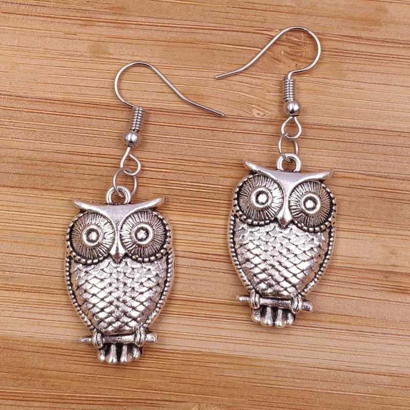 2019 Fashion New Earrings Owl Animal Cute Punk Cool Trendy Alloy Metal Fashion Women Men Party Birthday gift AJ019-020