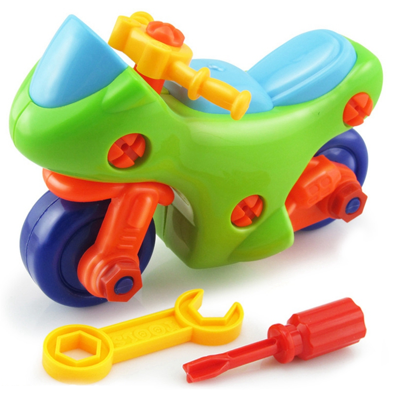 Baby Toys Early Education Diy Screw Nut Group Installed Plastic 3D Puzzle Disassembly Motorcycle Kids Toys For Children Jigsaw