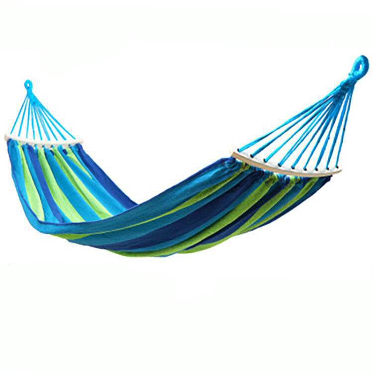 Blue-Striped Bending Stick Single Person 280*80 Hammock Take Shape Customizable With Printed Logo Outdoor Thick Canvas Hammock