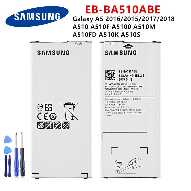 SAMSUNG Orginal EB-BA510ABE 2900mAh Battery For Samsung Galaxy A5 2016/2015/2017/2018 A510 A510F A5100 A510M  A510K A510S +Tools