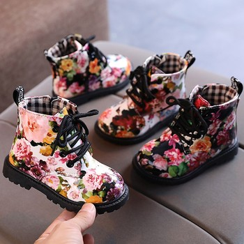 Autumn Girls Flowers Boots Children Fashion Boots Waterproof lacing Ankle Booties Girl Casual Shoes 2 3 4 5  6 7 year old Kids new rivet children s autumn girl ankle boots for kids martin snow fashion waterproof winter shoe 4 5 6 7 8 9 10 11 12 year old