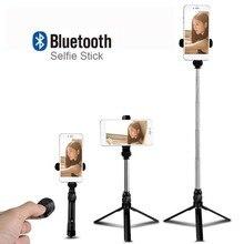 цена Mini Tripod Monopod Selfie Stick Bluetooth Wireless With Button Pau De Palo selfie stick for iphone 6 7 8 plus Android stick онлайн в 2017 году