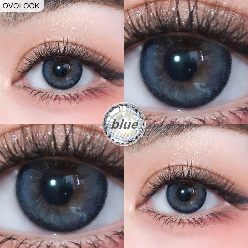 OVOLOOK-2pcs/par azul/cinza lentes de contato lentes coloridas para olhos 0-800 graus ano toss olho cor lente contatos