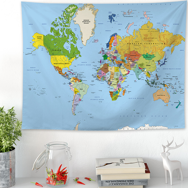 200cmX148cm External Cloth Living Room Bedroom Decorated Tapestries World Map