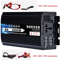 3000W sine wave power inverter DC 12V 24V 48V to AC220V 50Hz voltage transformer power converter digital Voltage display