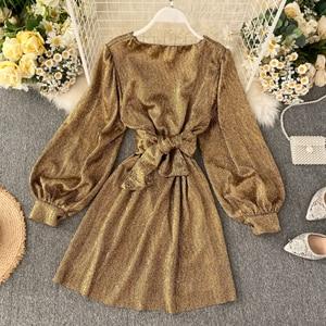 HISUMA 2020 весна осень Новое Женское шикарное платье с глубоким v-образным вырезом и рукавами-фонариками, шелковое платье феи, женское элегантное платье трапециевидной формы на шнуровке