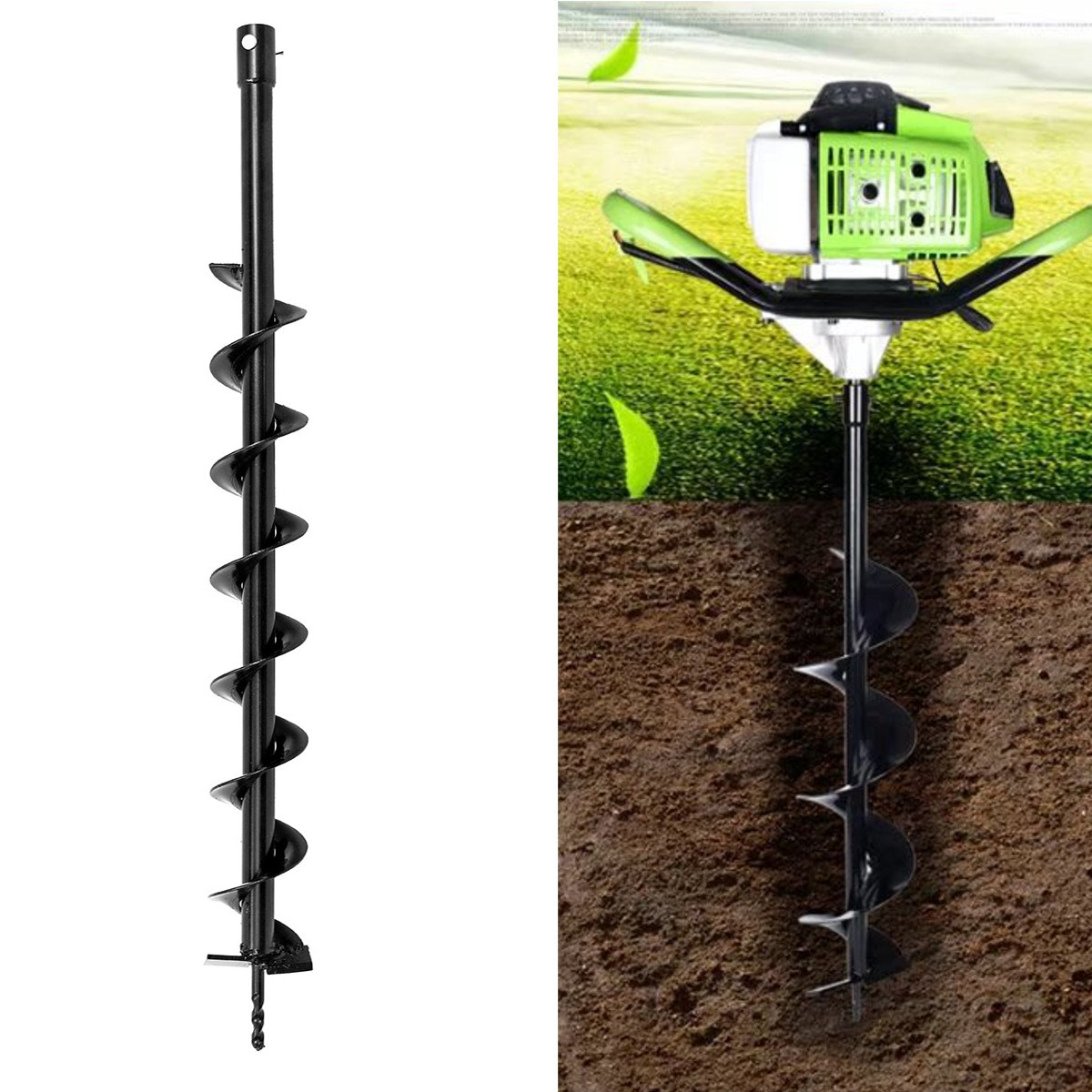 800mmX80mm Auger Drill Bit Hole Digger Earth Auger Garden Petrol Post Hole Digger Tool Ground Drill Machine Tools Accessories