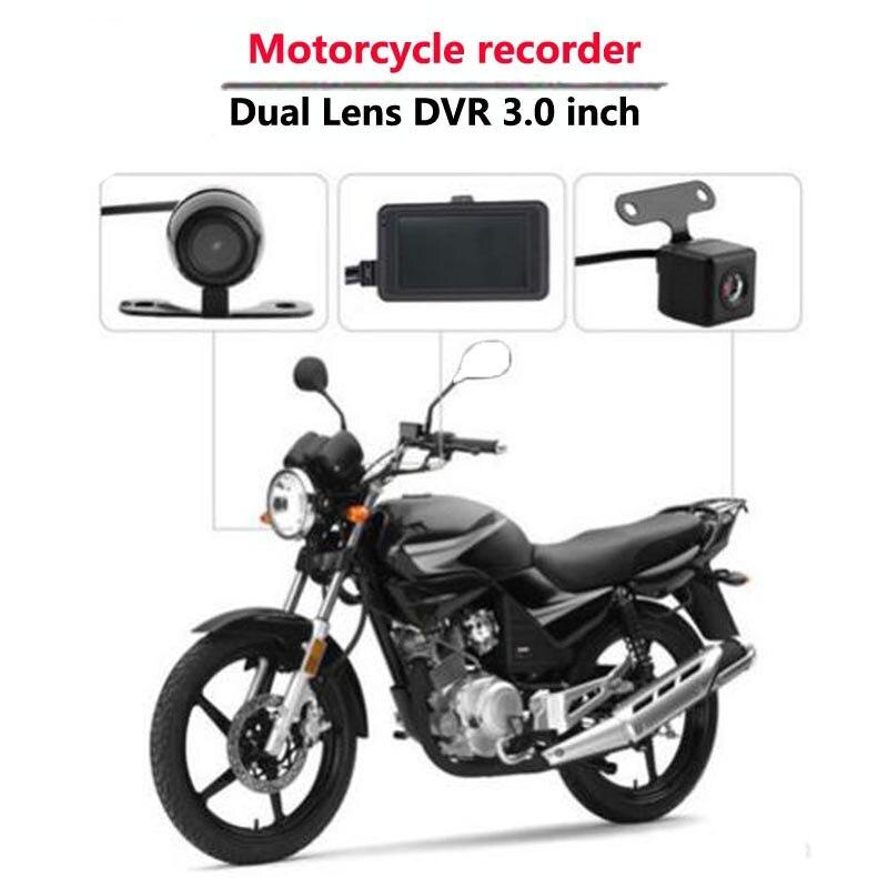 Caméra de moto DVR moteur Dash Cam avec enregistreur avant arrière double piste 140 degrés HD 3.0 pouces électronique de moto