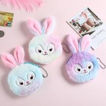 Cute Rabbit Plush Coin Purse Fur Embroidered Money Pocket Children Clutch Bag Round Wallet ID Card Holder Case Kids Gift