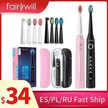 Fairywill brosse à dents sonique électrique FW507 imperméable à l'eau puissante brosse à dents de nettoyage avec 10 têtes de brosse de rechange pour adultes