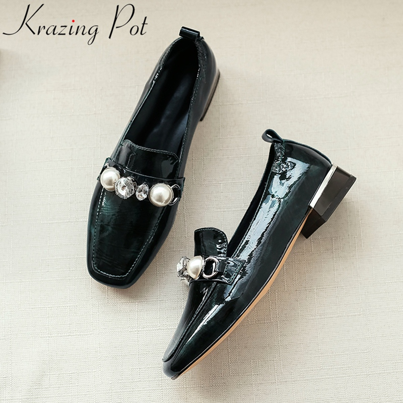 Krazing Pot comfortable cow leather retro women pumps square toe mature office lady dress crystal pearl loafers spring shoes L31