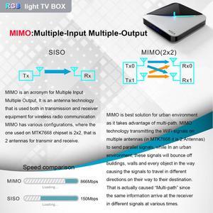 Image 5 - A95XF3 4GB 64GB 32GB RGB אור חכם טלוויזיה תיבת 2G 16G אנדרואיד 9.0 A95X F3 אוויר Amlogic S905X3 Wifi אלחוטי HD Ott מדיה נגן