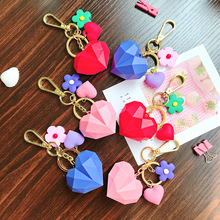 2019 New Color Love Heart Keyring Girl Lovely Keychain Cute Jewelry Accessories Key Chains Car Pendant Gifts