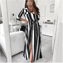 Fashion Maternity Clothes Women Turn-Down Collar Beach Shirt Dress Party Office Pregnancy Striped Sashes Long