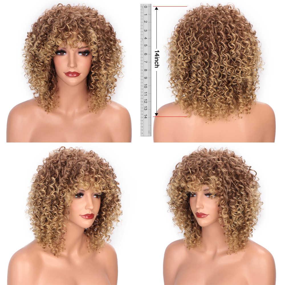 Stamped Glorious 14Inches Afro Kinky Krullend Pruik Synthetische Korte Pruik Met Pony Gemengde Bruin En Blond Pruik Voor Zwarte vrouwen