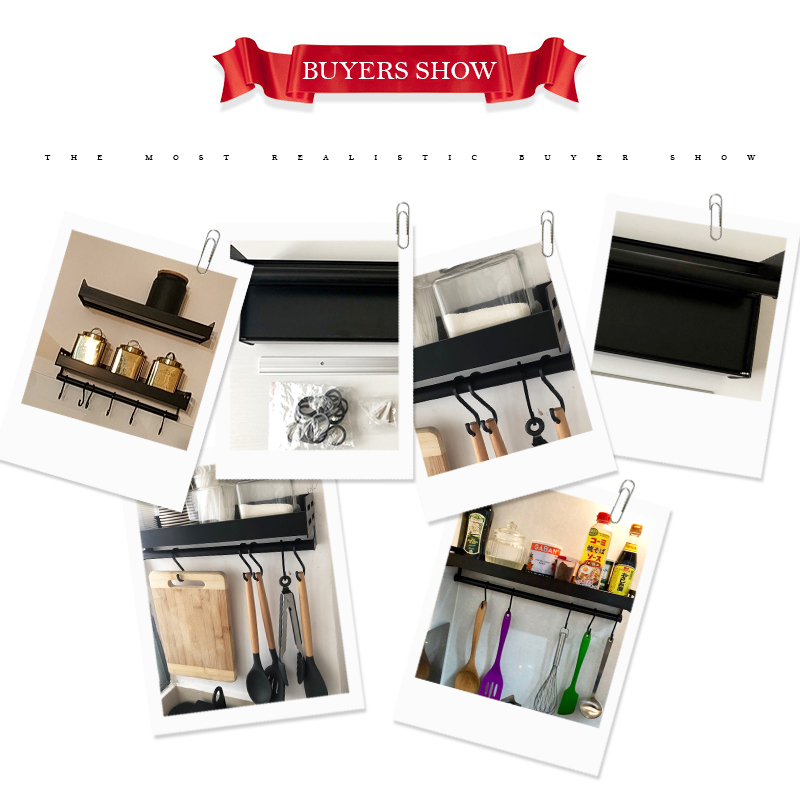 Wall Mount Aluminum Spice Racks and Kitchen Organizer with Spoon Hanger Hook 5