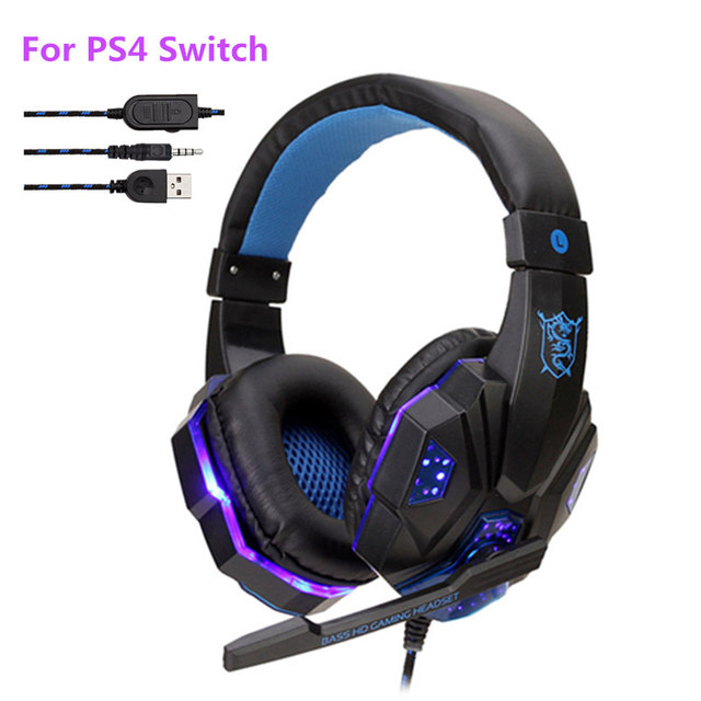 Profissional baixo gamer fones de ouvido com fio para ps4 switch xbox um gaming fone de ouvido com microfone led luz computador pc telefone fone de ouvido 1