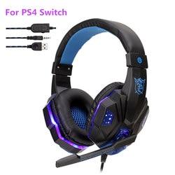 Профессиональные проводные наушники с басами для геймеров PS4 PS5 Switch Xbox One, игровая гарнитура с микрофоном светодиодный светильник кой, Компь...