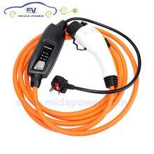 5 м 10A тип 1 кабель для зарядки аккумулятора с евровилкой с британской вилкой портативное зарядное устройство для электромобиля кабель SAE J1772 подключение электромобиля