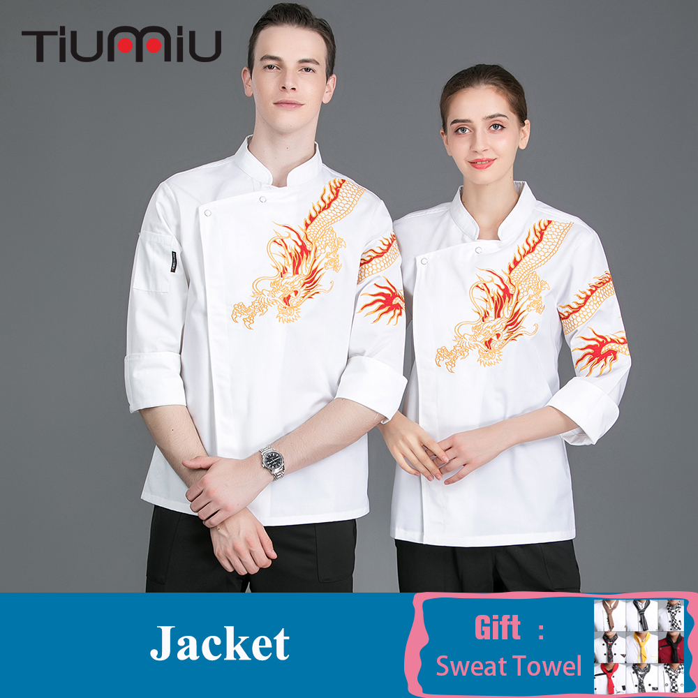 High Quality Chef Uniform Jacket Long Sleeve Food Service Restaurant Kitchen Work Clothes Hotel Barbershop Bakery Cooking Shirt