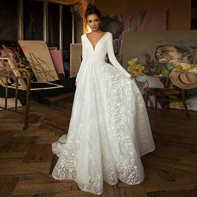 Boho Robe De Mariee Vestido Novia Wedding Dress Satin Longue Long Sleeves Robe De Soiree Simple Bride To Be 1
