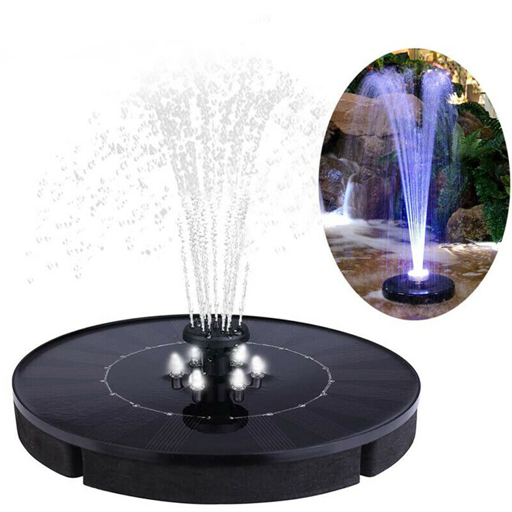 New Upgraded Solar Water Fountain Pump With LED Light Battery Backup Solar Panel Kit Strong Pressure High Water For Garden EA