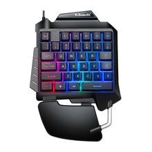 Een Hand Mechanische Gaming Keyboard Led Backlight Draagbare Mini Gaming Toetsenbord Game Controller Voor Pc PS4 Xbox Gamer