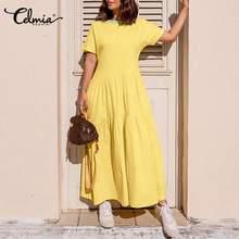 2021 verão casual cor retalhos vestido longo das mulheres celmia manga curta solta plus size maxi vestido o pescoço robe femme