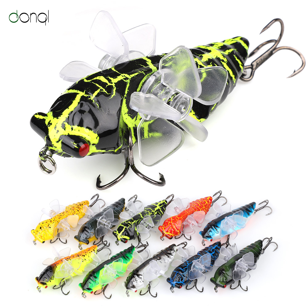 DONQL 1Pcs Insect Fishing Lure Cicada Artificial Wobblers Insect Trolling Hard Bait Treble Hook Fishing Tackle Artificial Lure