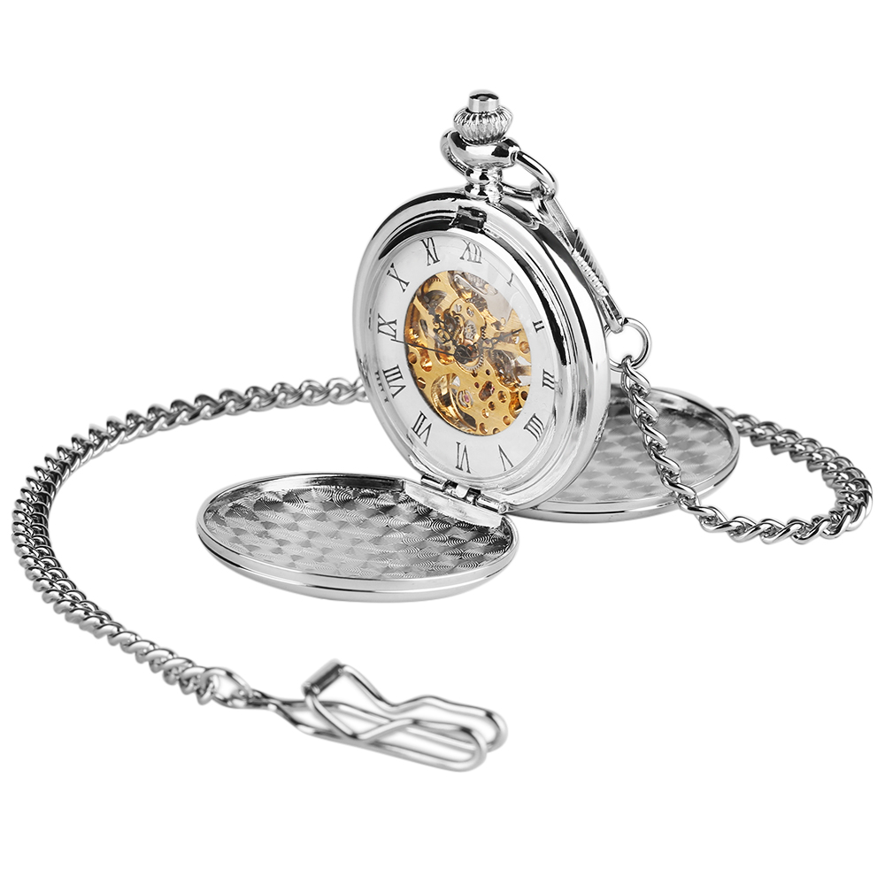 2020 New Arrival Silver Smooth Double Full Hunter Case Steampunk Skeleton Dial Mechanical Pocket Watch With Chain For Best Gifts