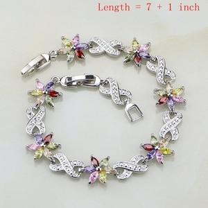 Image 2 - Flower Multicolor Zircon 925 Silver Jewelry Sets For Women Wedding Earrings/Pendant/Ring/Bracelet/Necklace Set