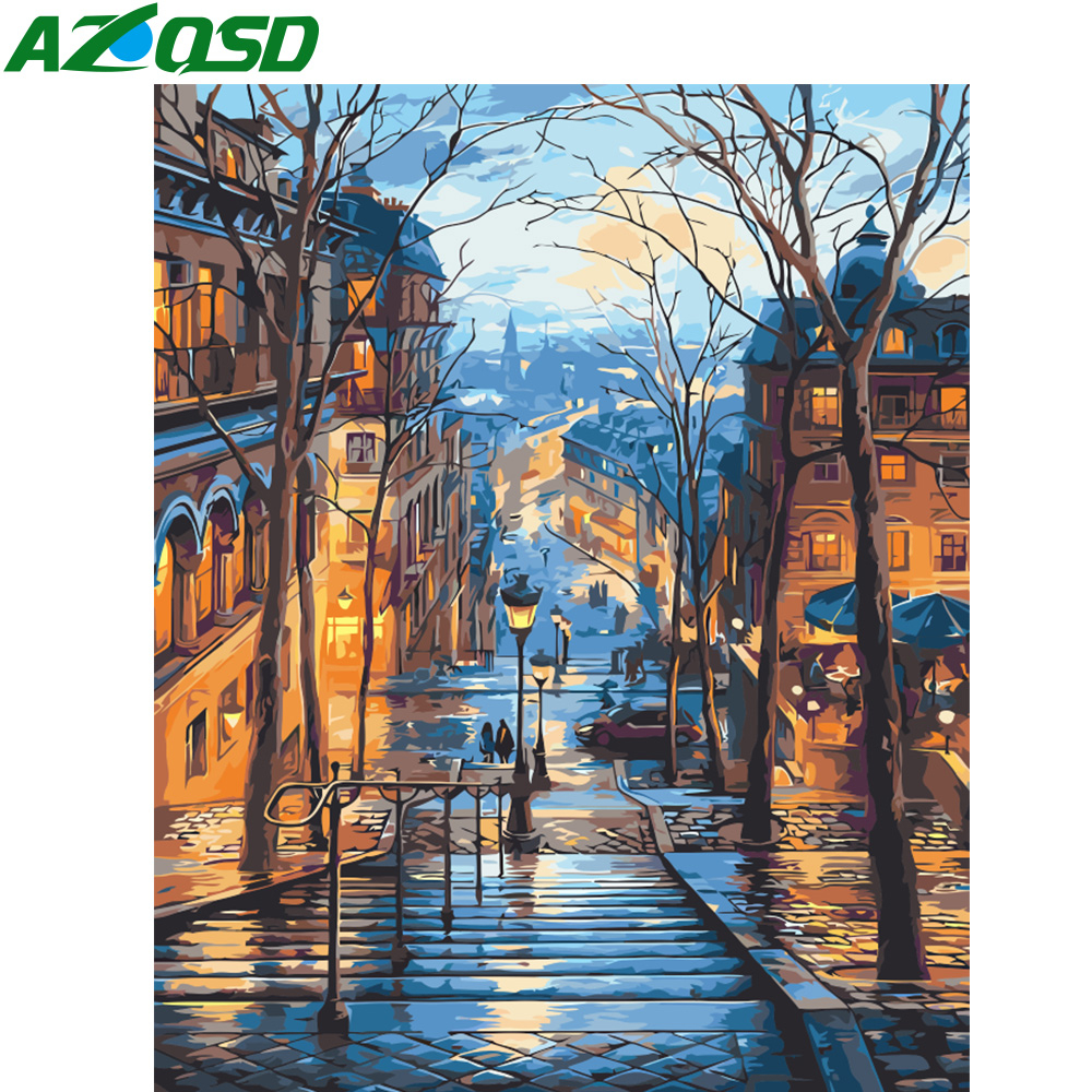 Venice Street Cilorful Scenery Canvas Picture Oil DIY Paint by Numbers Kits Gift