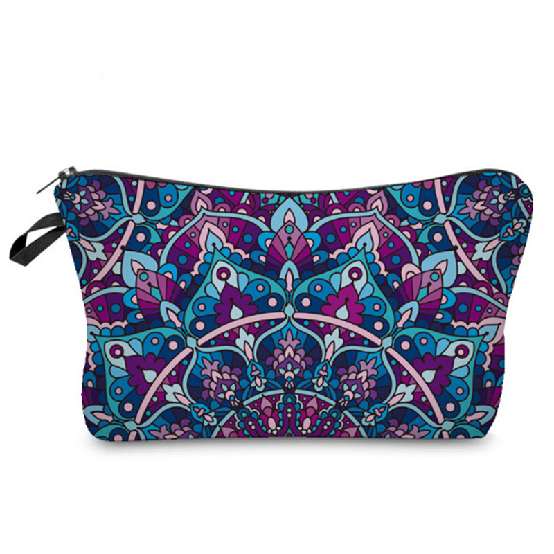 Flroal Prints Women Cosmetic Bag Multifunctional Colorful Mandala Flower Make Up Bag Fashion Small Zipper Travel Organizer Pouch