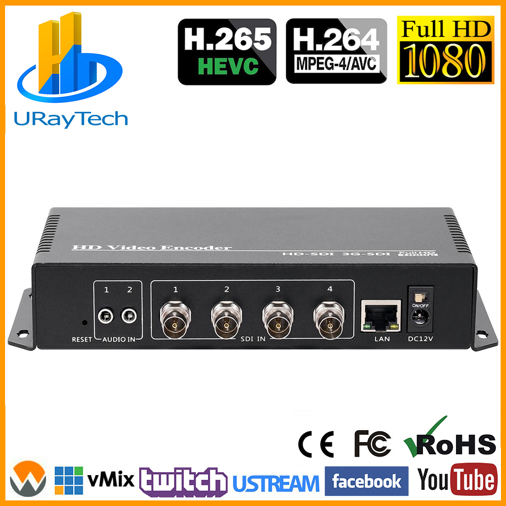 4 Channels HEVC H.265 H.264 SD HD 3G SDI to IP Live Video Streaming Encoder Converter with RTMPS HTTP RTSP RTMP UDP ONVIF HLS image
