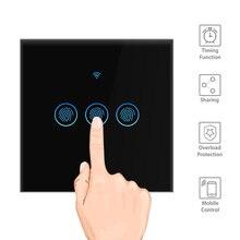 Interruptor de luz inteligente interruptor de parede sem fio interruptor de controle toque wifi compatível com alexa google assistente ifttt para android